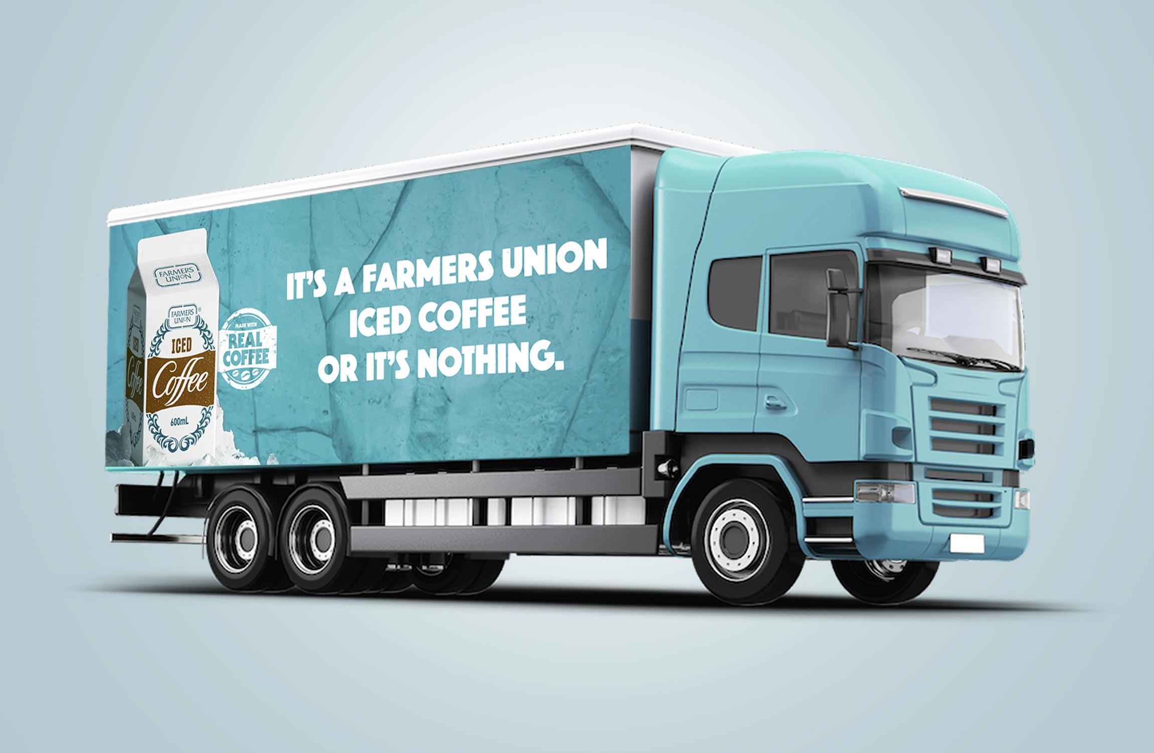 Farmers Union Iced Coffee Truck Sign Design